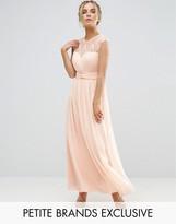 Little Mistress Petite Scallop Lace Top Pleated Maxi Dress