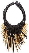 eskandar Multi-Strand Ebony and Gold Leaf Necklace