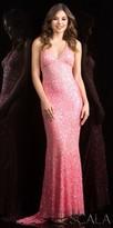 Scala Classic Fully Sequined Crisscross Evening Dress
