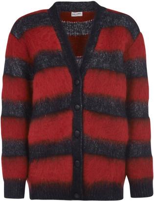 Saint Laurent Stripe Frayed Cardigan