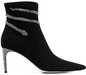 Rene Caovilla Embellished Snake Pointed Boots