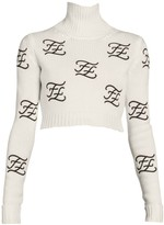 Fendi Embroidered Logo Crop Turtleneck Sweater