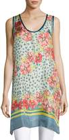Johnny Was Blu Long Floral-Print Tank/Tunic