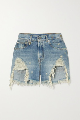 R13 - Distressed Denim Shorts - Light denim