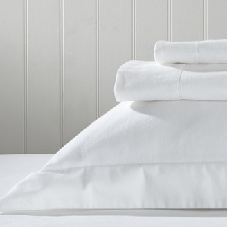 The White Company Velvet-Touch Brushed Cotton Flat Sheets, White, Single