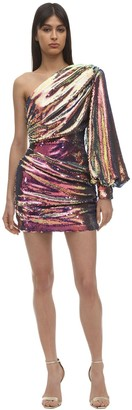 Alex Perry One Shoulder Sequined Mini Dress