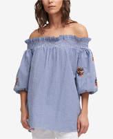 DKNY Cotton Seersucker Off-The-Shoulder Top