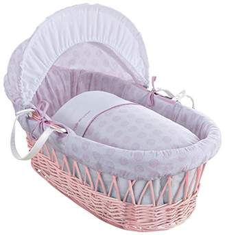 Clair De Lune Speckles Pink Wicker Moses Basket inc. bedding, mattress & adjustable hood