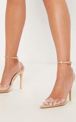 PrettyLittleThing Black Clear Ankle Strap Court Shoes