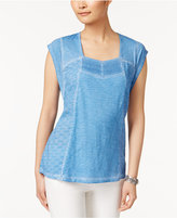 Style&Co. Style & Co Cotton Lace Eyelet-Embroidered Top, Only at Macy's