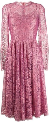 Dolce & Gabbana floral lace pleated dress