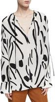 Diane von Furstenberg Keyhole Tied Long Sleeve Silk Blouse, White