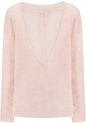 You By Tokarska Fog Blouse With A Neckine At The Back Light Pink