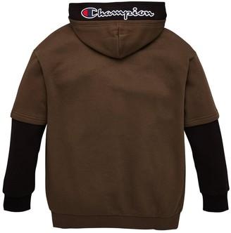Champion Hooded Faded Logo Sweatshirt - Khaki