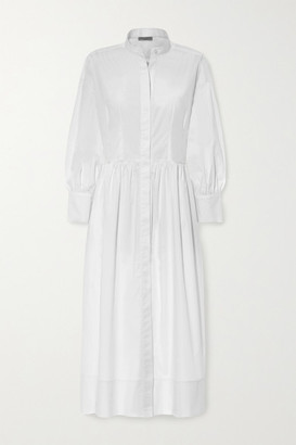 Three Graces London Peppa Cotton-poplin Midi Shirt Dress - White