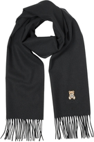 Moschino Solid Wool Teddy Bear Long Scarf w/Fringe