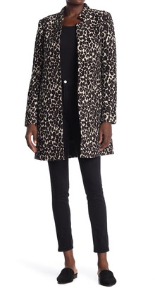 Love Token Leopard Print Stand Collar Coat