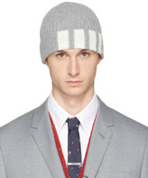 Thom Browne Grey Cashmere Four Bar Beanie