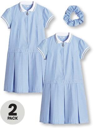 Very Girls 2 Pack Rib Collar Gingham School Dress - Blue