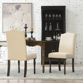 Alcott Hill Rexroad Linen Upholstered Side Chair Parsond Chair Dining Chair Upholstery Color: Beige