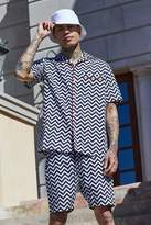 boohoo French Montana Zig Zag Print Shirt Co-ord