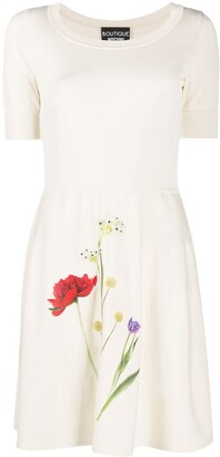 Boutique Moschino Photographic-Flower Jersey Mini Dress