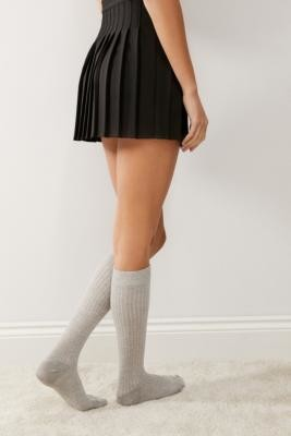 Urban Outfitters Grey Knit Knee-High Ribbed Socks - Grey ALL at