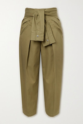 Alexander Wang Tie-front Cotton-twill Tapered Pants - Army green