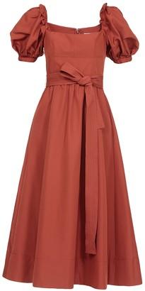 Self-Portrait Rust Brown Flared Midi Dress