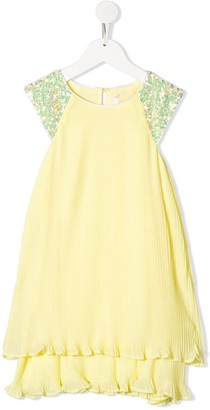 Billieblush Sequin-Sleeve Pleated Dress