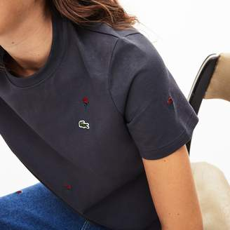 Lacoste Women's LIVE Rose-Embroidered Cotton T-Shirt
