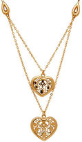 Lord & Taylor 18K Italian Gold Polished Floral Heart Center Double Link Necklace