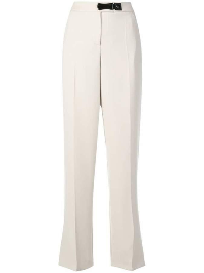 Giorgio Armani leather trim trousers