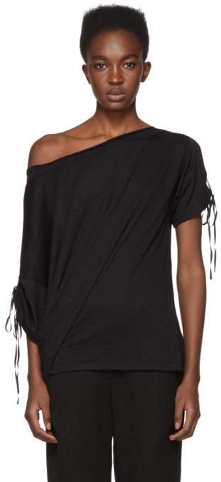 Ann Demeulemeester SSENSE Exclusive Black Off-the-Shoulder T-Shirt