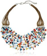 """Kenneth Cole New York Poolside Turquoise"""" Mixed Semiprecious Chip Bead Multi-Row Necklace"""