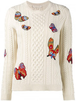 Valentino butterfly embroidered cable knit jumper