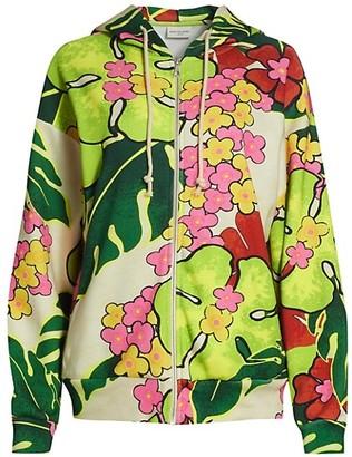Dries Van Noten Floral Zip-Front Hoodie
