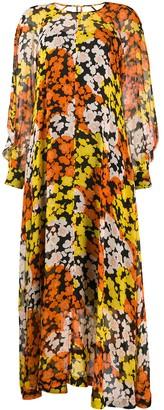 McQ Long Sleeve Floral Print Dress
