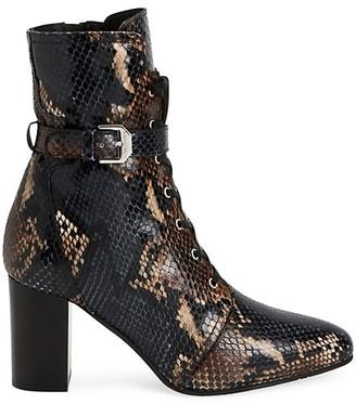 Aquatalia Fawne Snakeskin-Embossed Leather Ankle Boots