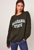 Missguided Alabama State Sweatshirt Green