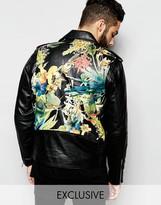Reclaimed Vintage Soft Leather Biker Jacket With Floral Back