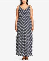 City Chic Trendy Plus Size Chevron-Print Maxi Dress