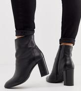 Asos Design DESIGN Wide FIt Rescue leather block heel boots in black