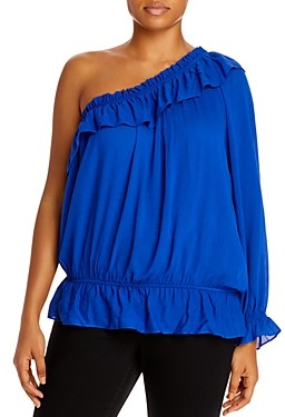 Aqua Curve Ruffled One-Shoulder Top - 100% Exclusive