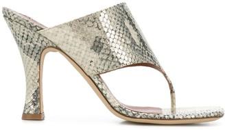 Paris Texas Snakeskin Effect Thong Strap Sandals