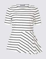 Marks and Spencer Striped Round Neck Short Sleeve Peplum Top