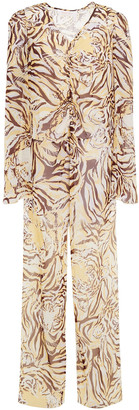 See by Chloe Draped Ruched Printed Silk-voile Blouse