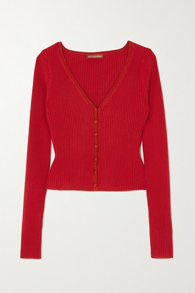 Altuzarra Eva Ribbed Stretch-knit Cardigan - Red