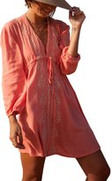 Qin.Orianna Women's Colorful Cotton Embroidered Turkish Kaftans Beachwear Bikini Cover Up Dress