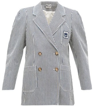 Miu Miu Double-breasted Striped Cotton Blazer - Womens - Navy